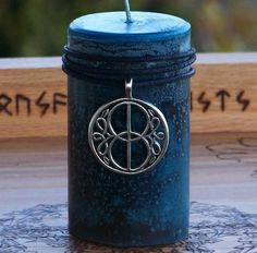 AVALON GATE Vesica Piscis Pillar Candle w/ Glastonbury Chalice Well Cover Amulet for Celtic Druid Norse Masonic High Magick, Healing by ArtisanWitchcrafts
