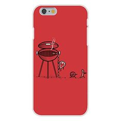 Apple iPhone 6 Custom Case White Plastic Snap On - 'BBQ Escape' Meat Running Away