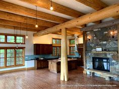 Hybrid Handcrafted Douglas Fir Post and Beam Log Home Cedar Log, Red Cedar, Log Cabin Homes, Log Cabins, Freedom House, Log Cabin Floor Plans, Interior Architecture, Interior Design, Timber Frame Homes