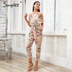 1296d0513da6b Cold Shoulder Long Jumpsuit Romper Boho Floral Print Ruffle Backless  Playsuit Summer Beach Overalls