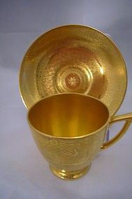 I see Helga Hufflepuff's cup.................. Minton demitasse cup & saucer. 24K gold