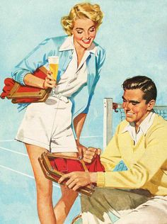 Tennis & Beer - detail from 1950 Budweiser ad.