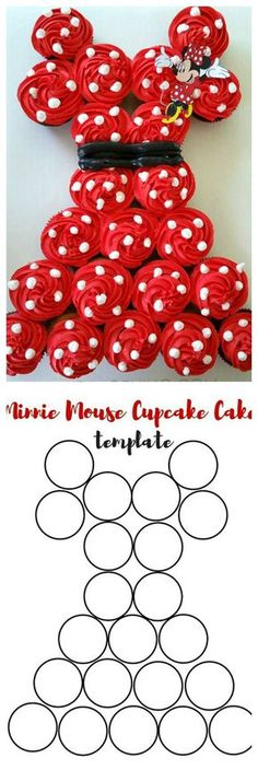 How To Make A Minnie Mouse Pull-Apart Cupcake Cake ~ Make your own Minnie Mouse cake by using JUST cupcakes!!
