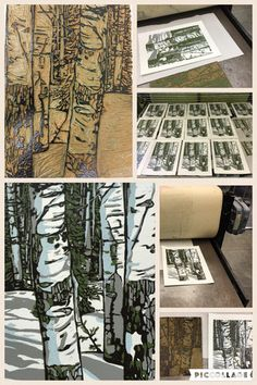 The process for Aspens, linocut