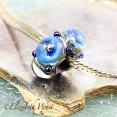 Blue Galaxy 4387 betsybeads Handmade Lampwork Bead Large Hole Bead Glass Bead SRA by betsybeads for $13.00