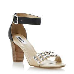 DUNE LADIES FLIP DI- Stud Detail Block Heel Sandal - black | Dune Shoes Online