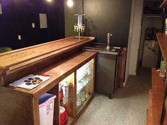 Installing a bar in your home is a great way to make sure that when you have company over everybody has a fun place to spend time together. A dedicated bar Basement Home Office, Basement Bar Plans, Wet Bar Basement, Basement Bar Designs, Home Bar Designs, Basement Remodeling, Basement Ideas, Rustic Basement, Basement Kitchen