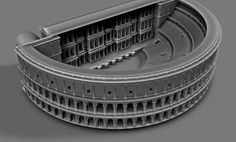 The origin of a modern concert theatre can be seen here in a 3D Model of the ancient open-air Theater of Marcellus, Rome - built 13BC. It is basically half a circle: the multi-storey aqueduct model rotated.