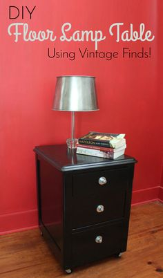 Upcycle thrift store finds into a cool side table with a lamp built in! #DIY