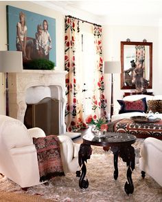 Cozy Spanish Living Room. Love the curtains.