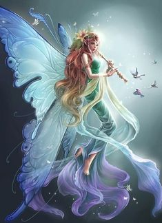 This fairy is beautiful! I love her dress and wings and hair and everything! How can you not re pin this?