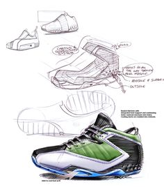 Automotive, industrial/ product and footwear design sketches by Brook Banham