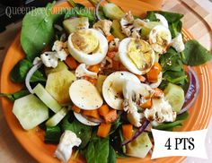 This is a HUGE salad for 4 points. The only points are the two hard-boiled eggs, which are 2 points each. For dressing, I use Balsamic vinegar. It has spinach, cucumbers, red cauliflower, onion, carrots, salt/pepper – all free points.