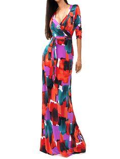 V Neck Printed Maxi-dress
