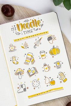 Looking to decorate your bujo or need a drawing tutorial? Check out these awesome bullet journal doodle ideas next time you're setting up a new page! Bullet Journal Inspo, Bullet Journal 2019, Bullet Journal Aesthetic, Bullet Journal Writing, Autumn Bullet Journal, Foto Doodle, Doodle Art, Autumn Doodles, Journal Pages