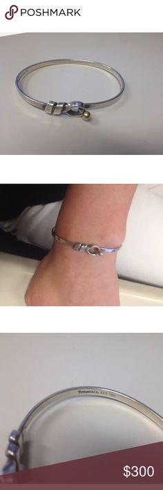 "Tiffany & Co. Hook & Eye Bangle Sterling silver and 18k gold Tiffany & Co. hook and eye closure bangle. Approximately 7"" around. Tiffany & Co. Jewelry Bracelets"