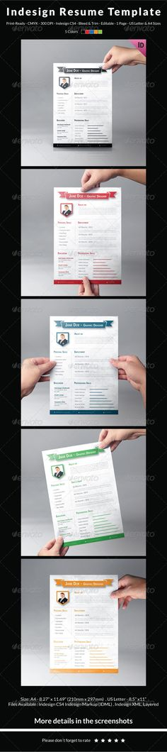 Universal Resume Template Resume templates, Resume and Templates - indesign resume templates