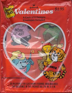 Valentine's Day in grade school ...tear apart valentines! Animals and little boys and girls with cute one-line sayings. Always included one for the teacher, too.