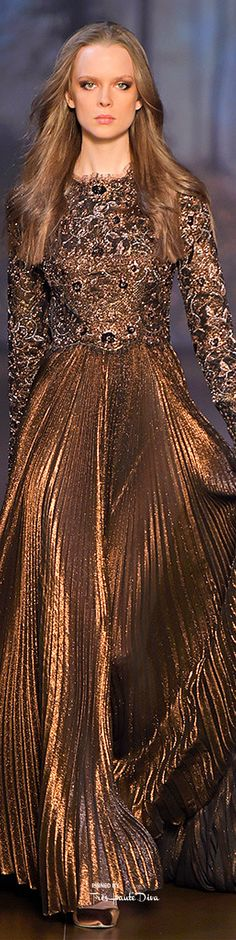 Elie Saab ~ Haute Couture Fall Caramel Brown Embellished Gown 2015