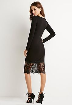 Lace-Paneled Bodycon Dress | Forever 21 - 2000172562