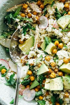 "cauliflower + roasted garbanzo ""rice and peas"" with avocado, apples, radishes, herbs etc. // the first mess"