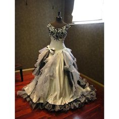 Sensational Silver and Black Wedding Dress Gothic Victorian ($940) ❤ liked on Polyvore featuring dresses, off the shoulder cocktail dress, bridal corset, plus size off the shoulder dress, gothic corset dresses and lace corset