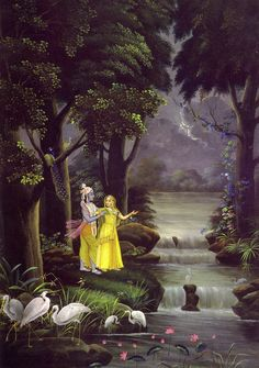 Old Indian art - Radha and Krishna by a river. Radha Krishna Pictures, Radha Krishna Photo, Krishna Photos, Krishna Art, Lord Krishna, Shiva, Krishna Leela, Shree Krishna, Radhe Krishna