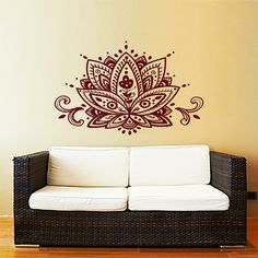 Lotus Flower Wall Decal Yoga Studio Vinyl Sticker Decals Mandala Ornament Moroccan Pattern Namaste Home Decor Boho Bohemian Bedroom