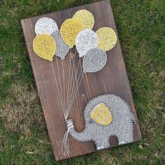 DIY String Art Crafts Kit - Sunflower Crafts Kit comes with the highest quality embroidery floss, HAND sanded and HAND stained wood board, metallic wi. String Art Diy, String Crafts, String Art Balloons, Cute Crafts, Diy And Crafts, Arts And Crafts, Sunflower Crafts, String Art Patterns, Doily Patterns