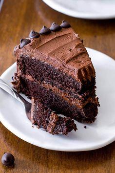 Triple Chocolate Layer Cake. The fudgiest homemade chocolate cake ever! Recipe on sallysbakingaddiction.com