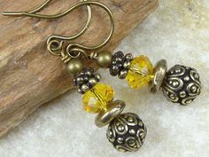 Beaded Jewelry Autumn Jewelry Fall Earrings Antique Dark Brass Earrings Sunflower Sunny Yellow Swarovski Crystal Eearrings