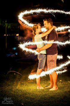 "Sparkler wedding  engagement couple photo. Nelia- This could be your theme, ""Let Love Sparkle"". I heart it"