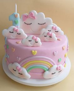 Birthday Cake for Baby Girl - Geburtstagstorte Girls - . Birthday Cake for Baby Girl – Geburtstagstorte Girls – 1st Birthday Cake For Girls, Baby Birthday Cakes, Rainbow Birthday Cakes, Cake Rainbow, Fondant Rainbow, Fondant Birthday Cakes, Birthday Cake Designs, Unicorn Rainbow Cake, 1 Year Old Birthday Cake