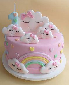 Birthday Cake for Baby Girl - Geburtstagstorte Girls - . Birthday Cake for Baby Girl – Geburtstagstorte Girls – 1st Birthday Cake For Girls, Baby Birthday Cakes, Rainbow Birthday Cakes, Cake Rainbow, Fondant Rainbow, Fondant Baby, Fondant Rose, Fondant Flowers, Fondant Birthday Cakes