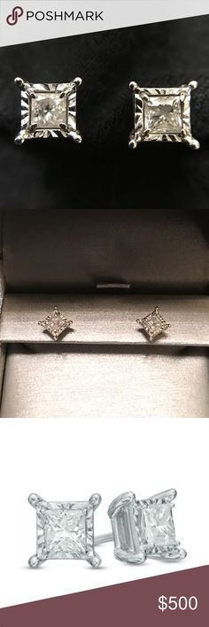 ZALES 1/2 CT princess cut diamond 10k Price kept at $500 for you to have free authentication! This pair is unique in that there's white gold surrounding the diamonds, thus giving off the illusion that they are larger than what they truly are (1/2 ct total diamond weight). Studs measure 1/4 inch on each side. 10k white gold. Comes with box! In the last photo, you can see that one of the earrings has a slightly bent post. Will clean/sanitize before shipping. Make offer OR bundle 3+ for…