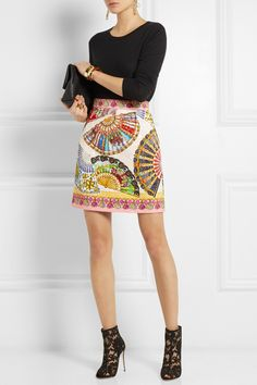 Dolce & Gabbana|Printed matelassé mini skirt....GUCCI Fine-knit cashmere and silk-blend sweater ... DOLCE & GABBANA Lace and mesh peep-toe ankle boots ... SAINT LAURENT Monogramme leather clutch ....ARME DE L'AMOUR Gold-plated ring ... PAULA MENDOZA Jarama gold-plated earrings |NET-A-PORTER.COM