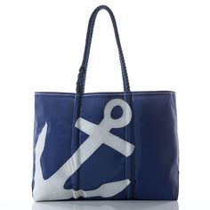 Large White on Navy Anchor Tote - Handcrafted from Recycled Sails.