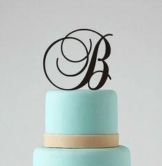 """Monogram Wedding Cake Topper, Custom Personalized Cake Topper, 5"""" Letter Cake Decoration, Wedding Cake Decor"""