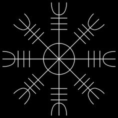 "Aegishjalmur, ""The Helm of Awe"" is magical symbol of protection used by early Vikings. Worn between the eyes, it may have been intended to confer invincibility in the wearer or instill fear in one's enemies. Today, it is used as a charm of protection by Asatru believers."