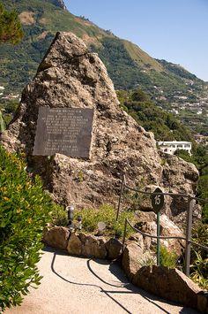 William's Rock, dedicated to composer William Walton, the creator of the Mortella Gardens, Ischia, Italy