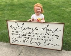 welcome home - where memories are made, tears are shed, love is felt, and refuge is found - you belong here 2'x4' wood sign farmhouse decor #DIYHomeDecorSigns