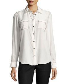 KATE SPADE Contrast-Stitch Silk Shirt, French Cream. #katespade #cloth #