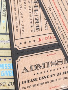 admission ticket wedding invitation http://www.wedfest.co/cinema-and-movie-themed-wedding-stationery/