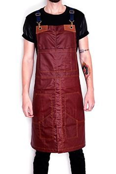 Under NY Sky CrossBack Apron  Cargo Coated Wine Red LeatherLikeSheen  Beige Leather  SplitLeg -- This is an Amazon Affiliate link. Want additional info? Click on the image.