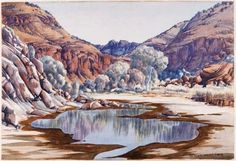 Albert Namatjira :: The hills beyond Hermannsburg :: Exhibition kits :: Education kits :: Education materials :: Education :: Art Gallery NSW Australian Painting, Australian Artists, Watercolor Landscape, Landscape Art, Watercolour Painting, Pictures To Paint, Cool Pictures, Kunst Der Aborigines, Aboriginal Artists