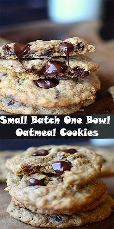 Small Batch One Bowl Oatmeal Cookies {Gluten Free} Oatmeal Cookie Recipes, Easy Cookie Recipes, Oatmeal Cookies, Baking Recipes, Cooking For One, Batch Cooking, Tea Cake Cookies, Chip Cookies, Small Batch Baking