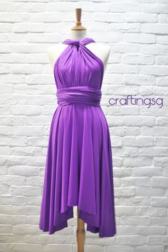Bridesmaid Dress Infinity Dress Bright Purple Knee by craftingsg