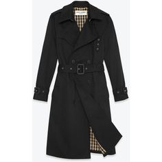 Iconic Saint Laurent Trench Coat In Black Technical Gabardine ($2,450) found on Polyvore