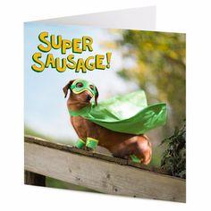SUPER SAUSAGE superhero Dachshund sausage dog Birthday or Valentine card | eBay