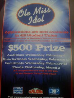 Ole Miss Idol sponsored by Student Programming Board